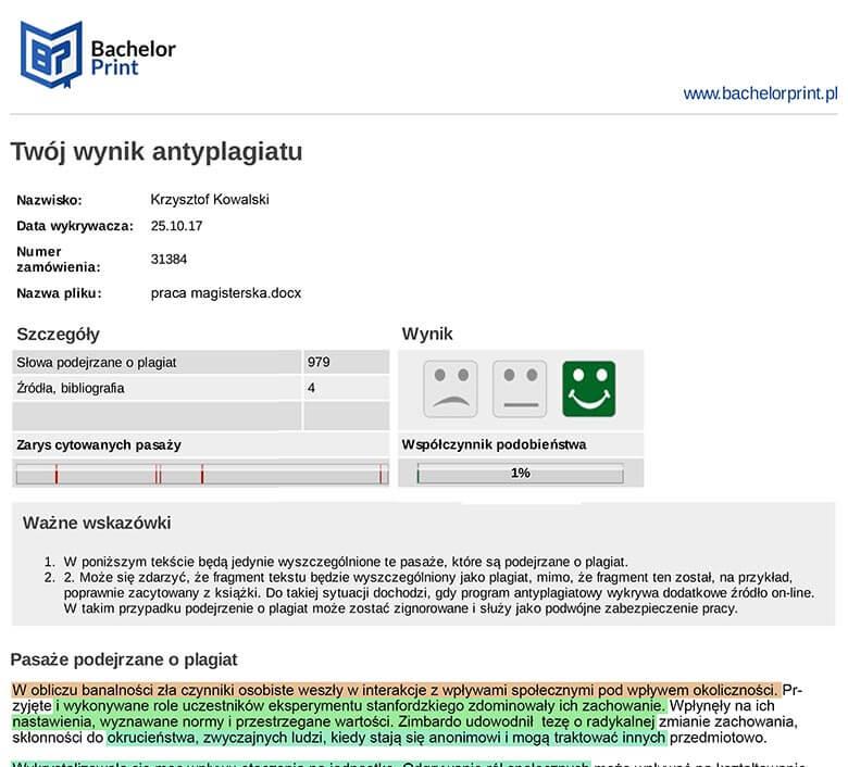 Antyplagiat online przykład raportu po sprawdzeniu pracy na wykrycie plagiatu
